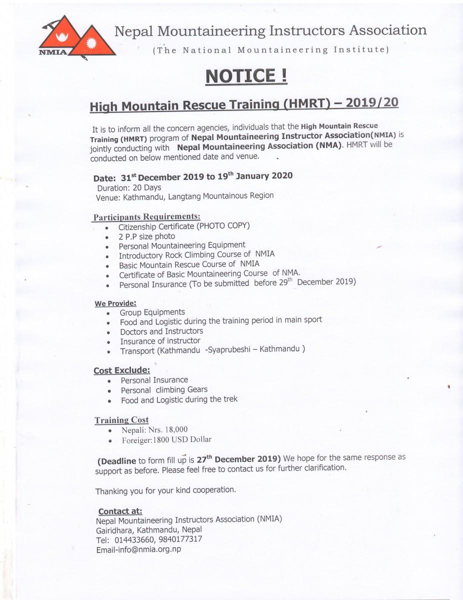 Notice For High Mountain Rescue Course -2019/20
